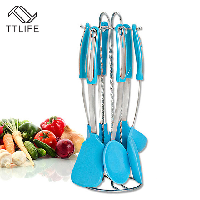Ttlife 7 Pcs Blue Silicone Kicthen Cooking Utensil Sets With Stainless Steel Holder Kitchen Set