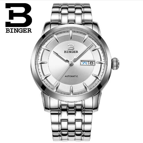 Brand Binger Luxury Watches Men Mechanical Automatic Watch Stainless Steel Dress Clock Male Business Wristwatch montre homme binger genuine gold automatic mechanical watches female form women dress fashion casual brand luxury wristwatch original box