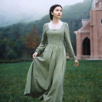 vestido Spring Autumn Women Vintage V-Neck Long Sleeve Elegant Slim Linen Princess Laciness Light Green Long Dress sukienki - DISCOUNT ITEM  32% OFF All Category