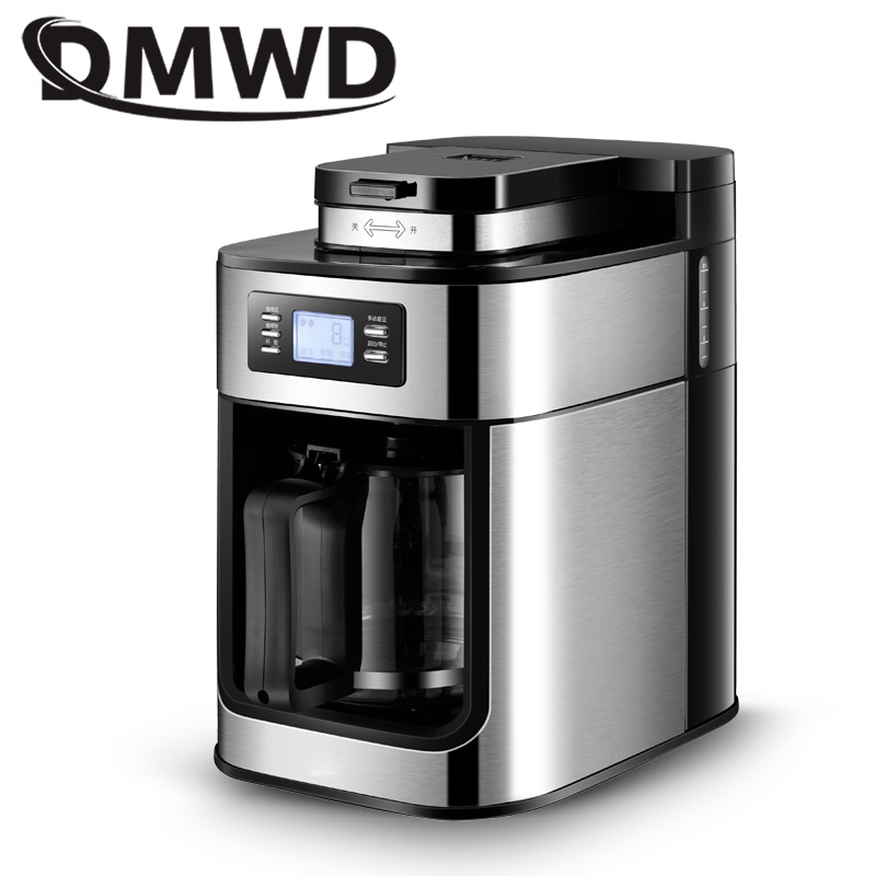 DMWD Automatic Electric Coffee Maker Bean Grinder Mill Grinding Machine Comercial Espresso Tea Boiler Drip Cafe American Pot EU недорого