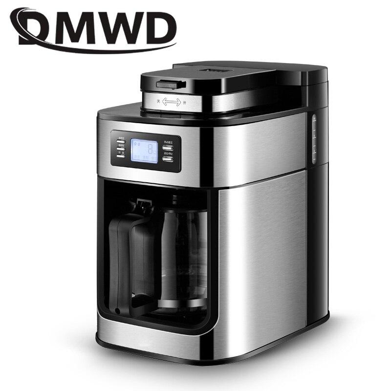 DMWD Automatique Électrique Machine À Café moulin à graines Moulin machine de broyage Comercial Espresso Thé Chaudière Goutte À Goutte Café Américain Pot L'UE