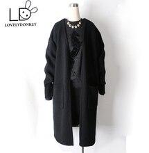 LOVELYDONKEYT show genuine cashmere sweater women cashmere cardigan knitted pure  jacket long coat  free shipping M411