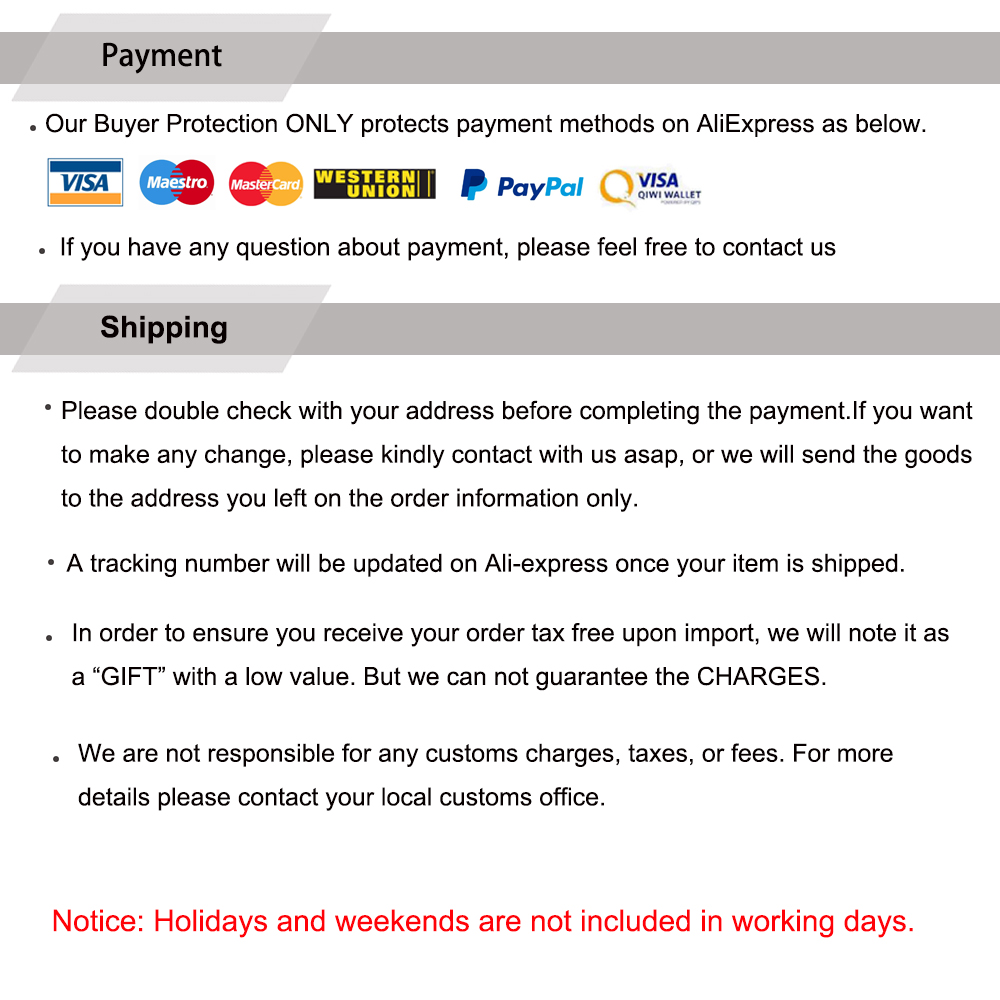 Payment and shipping