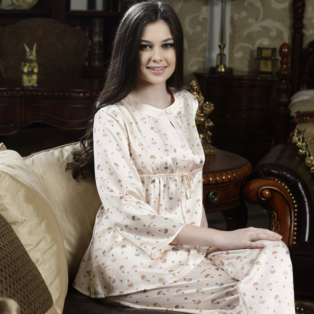 American standard lounge lovers spring and summer silk sleepwear pure silk mulberry silk long-sleeve cartoon set 320651