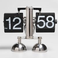 Creative Metal Retro Flip Table Clock Decorative Bedroom Desktop Vintage Digital Flip Clock Page Turning Desk Watch Home Decor
