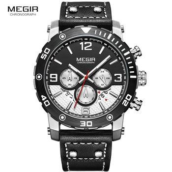 MEGIR мужские спортивные кварцевые часы модный кожаный ремешок хронограф аналоговые наручные часы для мужчин светящиеся водонепроницаемые ...