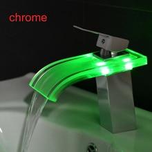 BAKALA SIN Batería clásico para el baño grifo cromado cascada led cambio de color led grifo del fregadero cascada LH-9012/9011