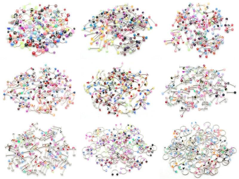 Piercing bijoux acier barbell anneau à sourcils labret anneau à lèvres courbé circulaire fer à cheval cbr anneau mix couleur design acrylique-in Bijoux de corps from Bijoux et Accessoires    1