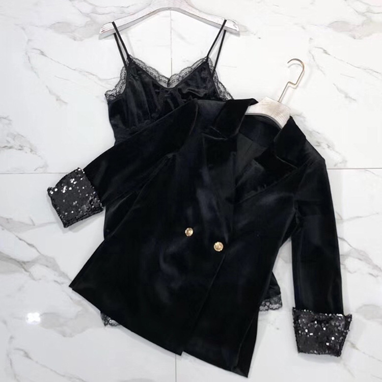Women 2019 fashion lace dress velvet suits dress jacket suit ar190113