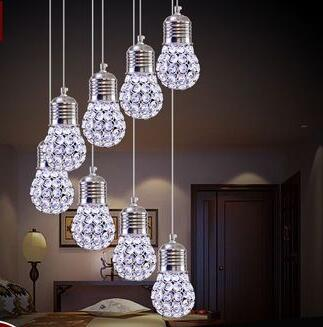 Stairs lights new modern minimalist crystal chandelier restaurant meal hanging lamps LED ball hall chandelier paofan creative ZA egg in egg pendant lights modern minimalist fashion creative art concept light restaurant small retest stairs led lamp za fg179