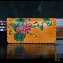 OLG.YAT Italian Vegetable tanned cowhide handmade long section of zipper cowhide Lotus handbag retro men or women wallet