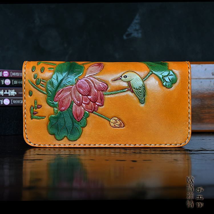 OLG.YAT Italian Vegetable tanned cowhide handmade long section of zipper cowhide Lotus handbag retro men or women wallet bioelectric therapy device prostatitis treatment natural remedies