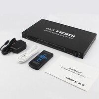 New 4x8 HDMI Splitter 4Kx2K HDMI 1.4b Switch Splitter HDMI Audio Video Converter support 3D 1080P 4K EDID HDCP1.4