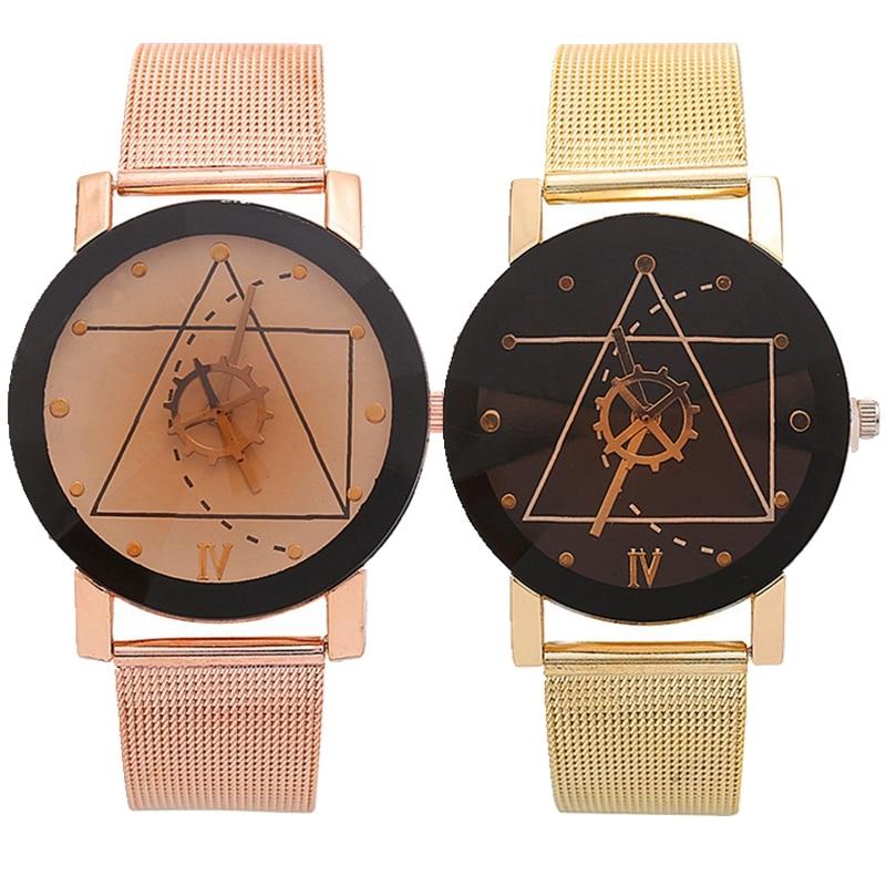 Fashion women trend mesh belts geometric line rudder design alloy metal watch wholesale unisex mens women