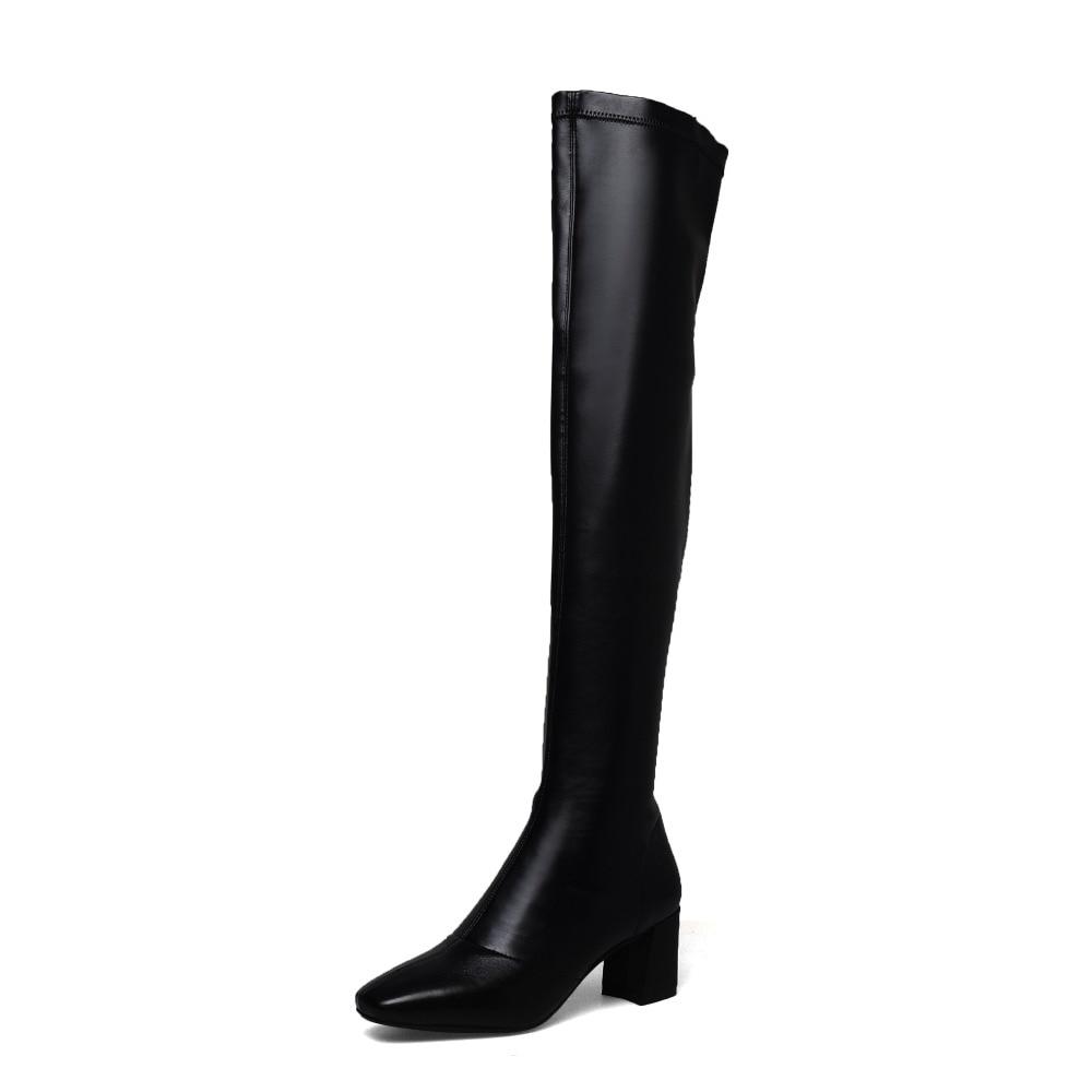 Noir Sur Talon Aiweiyi Automne Chaussures Hauts Véritable Talons Femmes Genou Femme Blackleather Épais Le Bottes Haute Printemps Cuir blacksuede En BYYIqwz
