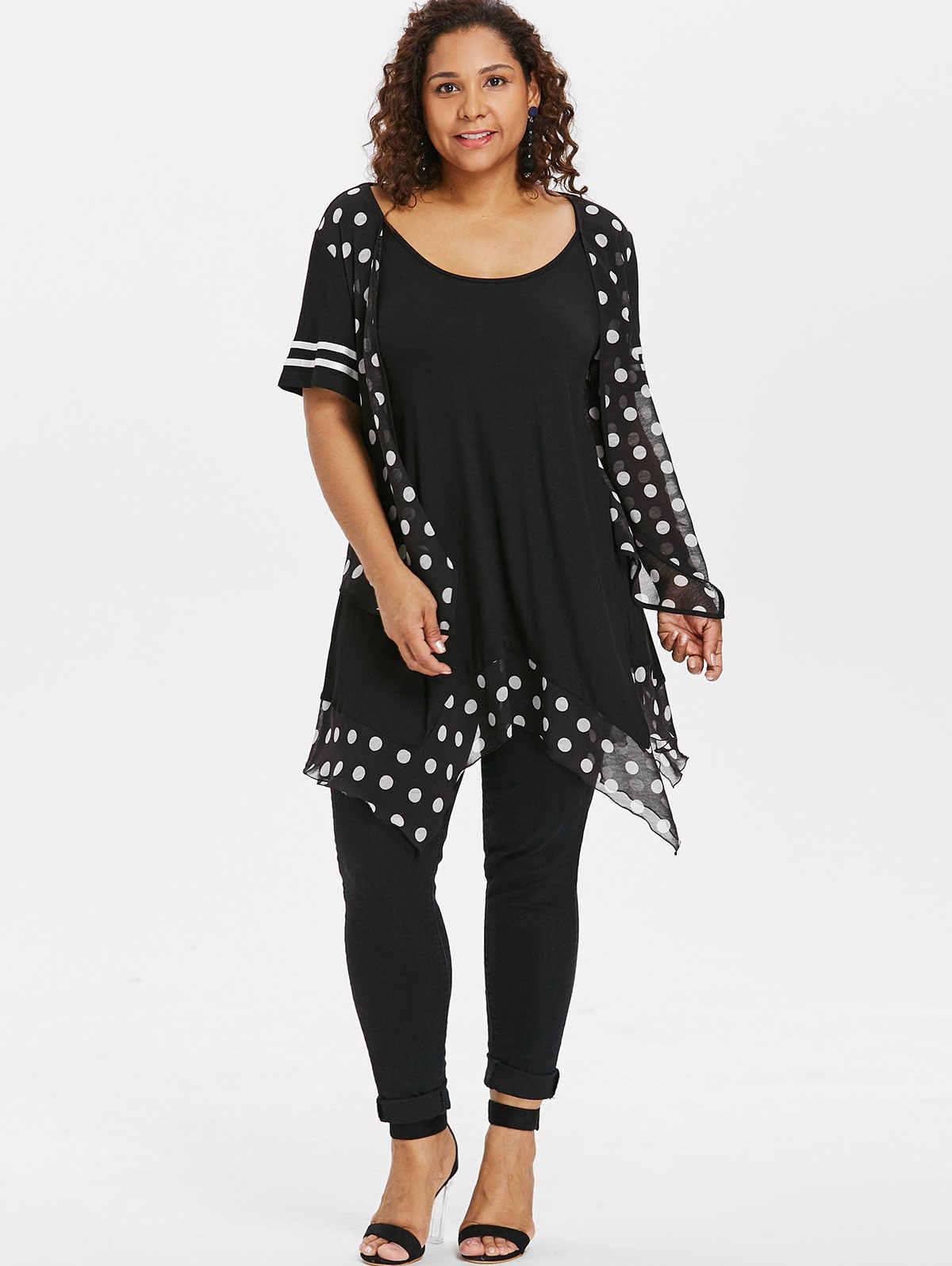 8088d8e2a5c ... Wipalo Plus Size Polka Dot Flyaway T-Shirt Scoop Neck Handkerchief Hem Tunic  Tee 2018 ...