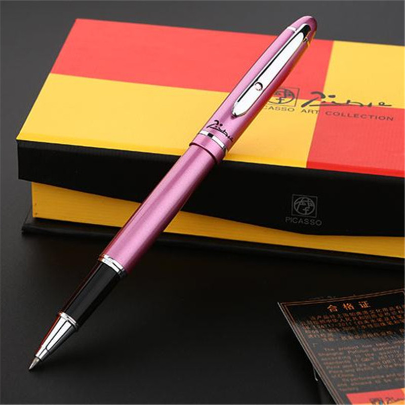 1pc/lot Picasso 608 Rose Pens Silver Clip Roller Ball Pen Pimio Picasso Pens Writing/School Supplies Stationery Gifts 13.6*1.3cm roller ball pen or fountain pens burgundy j601 signature pens the best gifts wholesale 2 pcs lot free shipping insured
