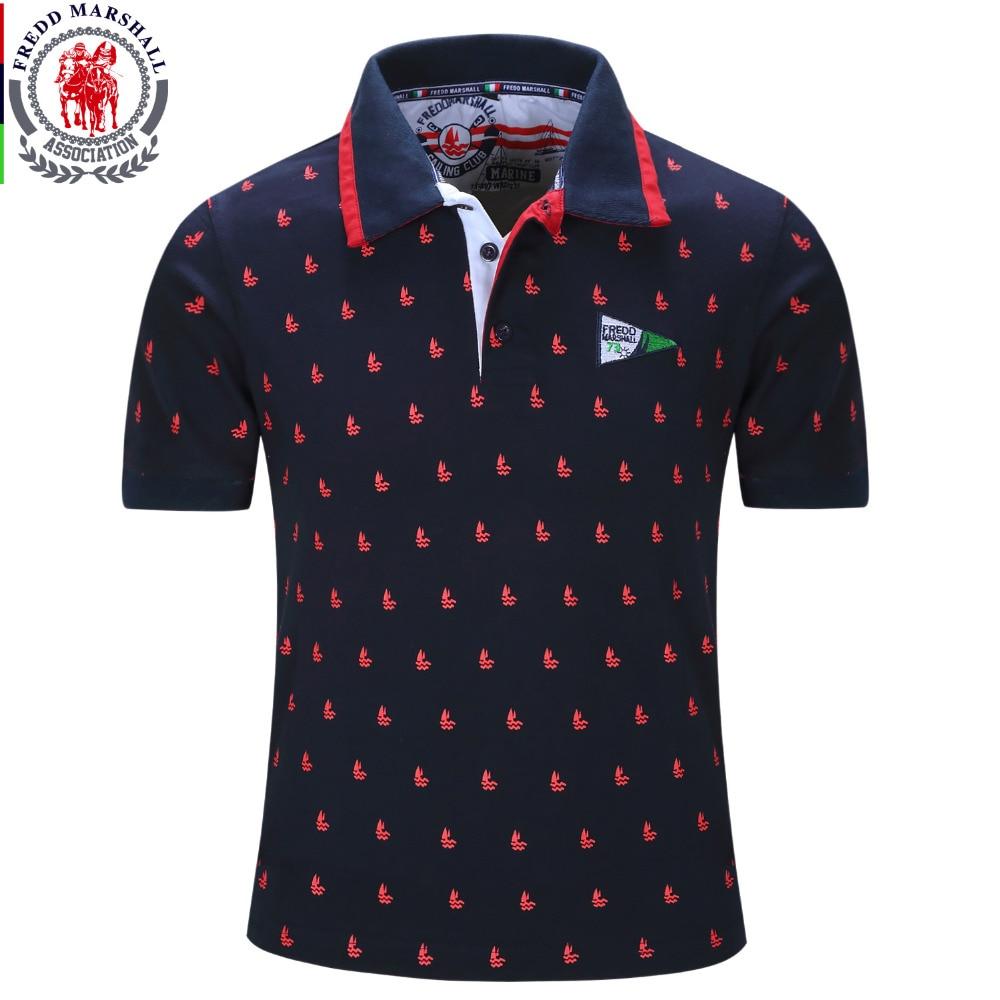 Fredd Marshall dei Nuovi Uomini di Polo Shirt Mens Solid Polo homme Casuale manica  corta Top per Uomo Pieno Stampa 100% Cotone Plus Size 014 in Fredd ... 22b1b484ce5