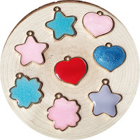 New Arrival 50PCs Trendy Glitter Enamel Alloy Charms Kawaii Stars Lovely Heart Flower Oil Drop Metal