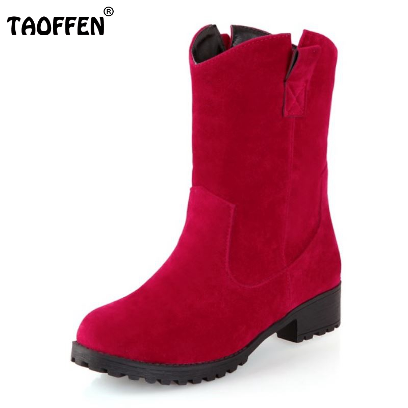 TAOFFEN Women Flat Half Short Boot Fashion Gladiator Leisure Tassel Warm Winter Mid Calf Boots Brand Footwear Shoes Size 34-43 fashion women s mid calf boots with tassel and cross straps design