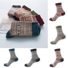 JAYCOSIN Женские винтажные осенне-зимние мягкие теплые толстые шерстяные носки с геометрическим принтом для девочек Рождественский подарок PJ1031