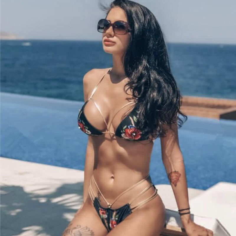 Sexy Snakeskin Bikini 2019 Female Bathers Micro Bikini Triangle Swimwear Women Halter New Bathing Suit in Bikinis Set from Sports Entertainment