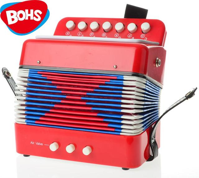 BOHS Music Instrument Accordion 7 Keys Button Piano Toys Great Gift Kids