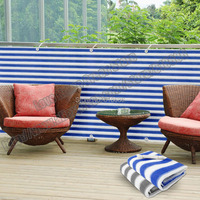 Striped privacy screen net awning fence for Deck Patio Balcony Porch 0.75mX5m Blue white and Gray white
