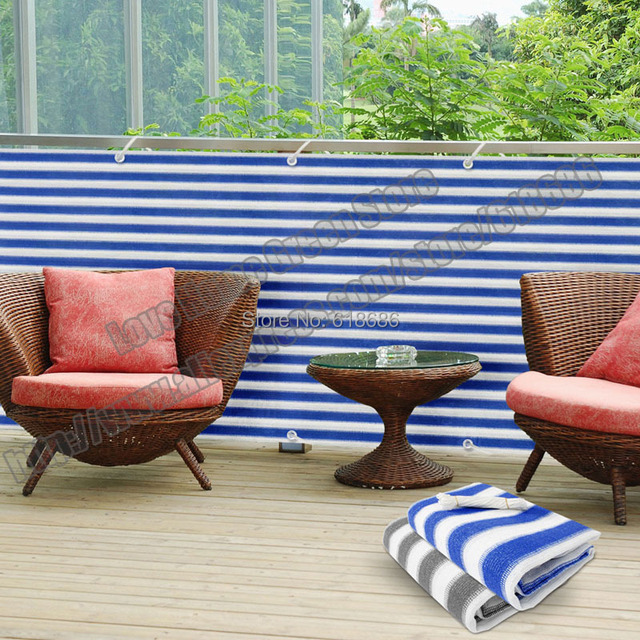 Striped Privacy Screen Net Awning Fence For Deck Patio Balcony Porch  0.75mX5m Blue White