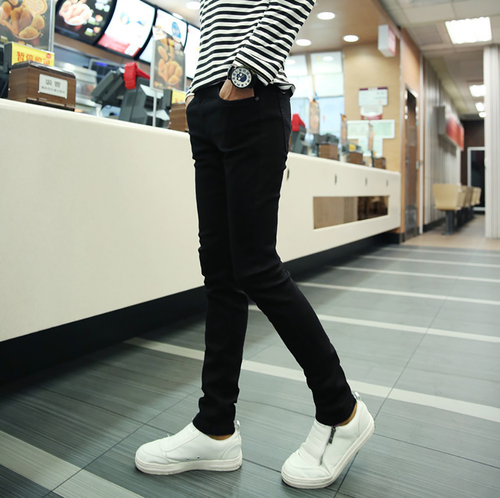 AudWhale Spring Summer Men Classic   Jeans   Full Length Mid Waist Solid Black Skinny   Jeans   Pants For Men