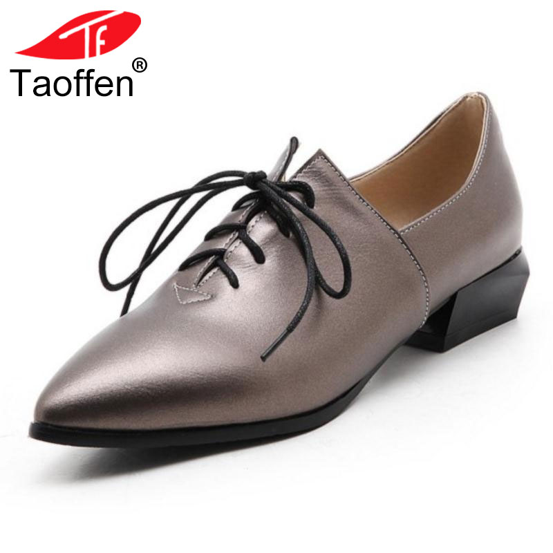 Taoffen Vintage Women Lace-up Pointed Toe Pumps Thick High Heel Shoes Oxfords Shoes Woman Fashion Women Heeled Shoes Size 34-43 fashion suede leather heeled sandals pointed toe lace up women pumps spikle high heel women shoes zapatos mujer