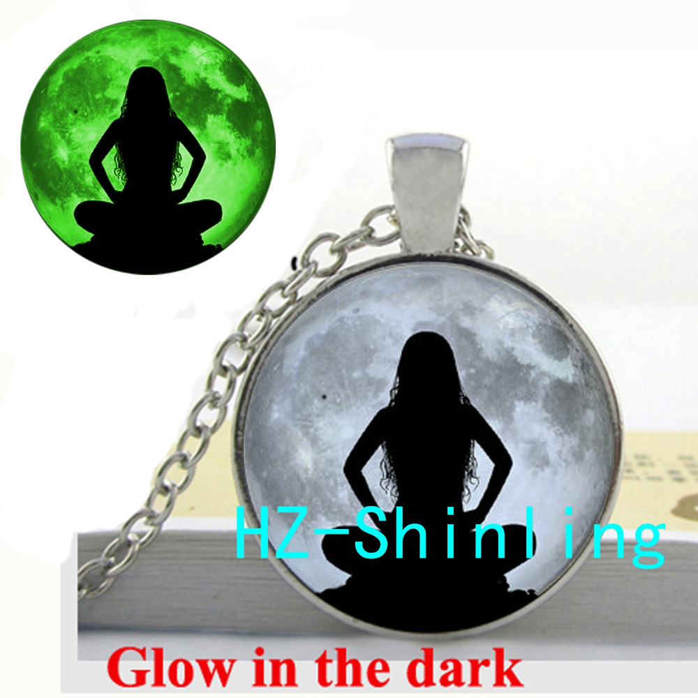 Yoga Girl Glowing Necklace Women and Moon Meditation Jewelry Yoga Picture Pendant Glow in The Dark Necklace