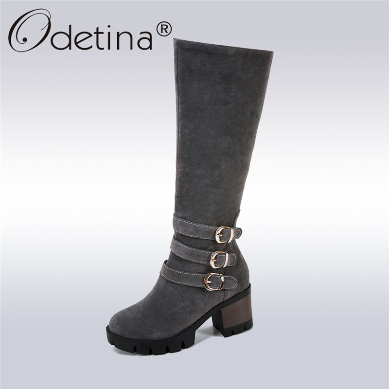 Odetina 2017 Fashion Women Knee High Riding Boots Thick Chunky High Heel Long Boots Buckle Side Zipper Winter Shoes Big Size 43 scoyco motorcycle riding knee protector extreme sports knee pads bycle cycling bike racing tactal skate protective ear