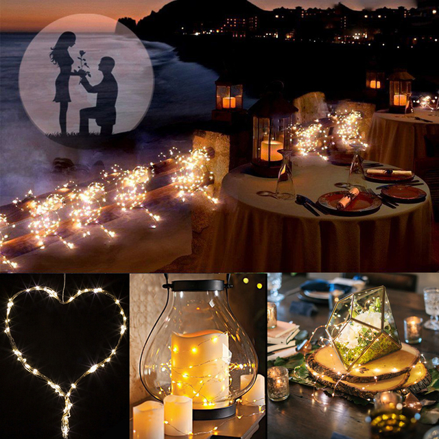 10M 100 LED 3AA Battery Operated Copper Wire Colorful Tiny String Fairy Light for Christmas Holiday Wedding Party Decoration