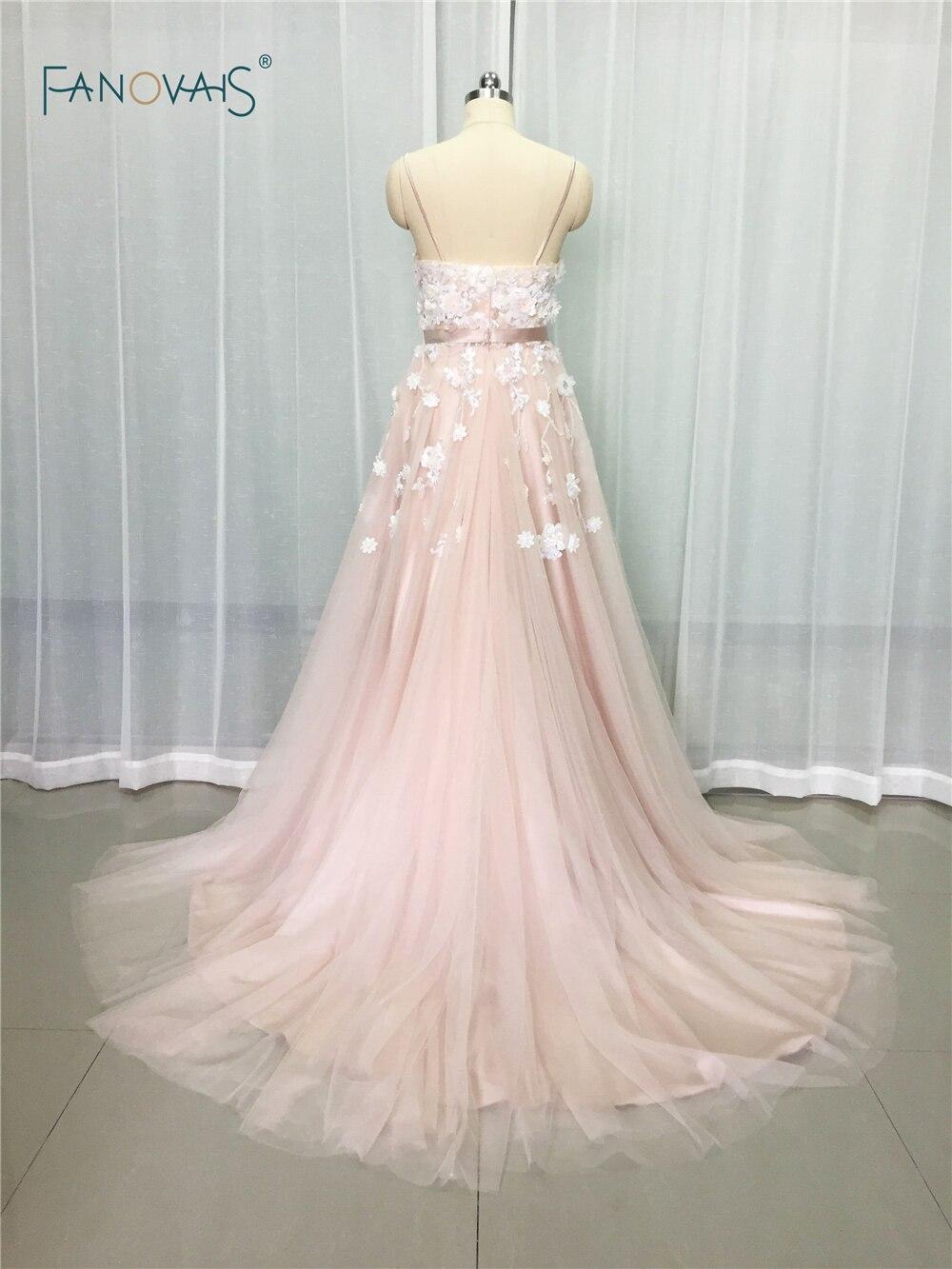 US $14.14 14% OFFSexy 14 Blush Brautkleider mit Kristall Spaghetti  trägern Tüll Blume Brautkleid Brautkleid Vestido de Novia BT14blush  wedding