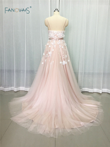 Image 2 - Sexy 2019 Blush Wedding Dresses với Pha Lê Spaghetti Dây Đeo Tulle Hoa Wedding Gown Wedding Gown Wedding Vestido de Novia BT04
