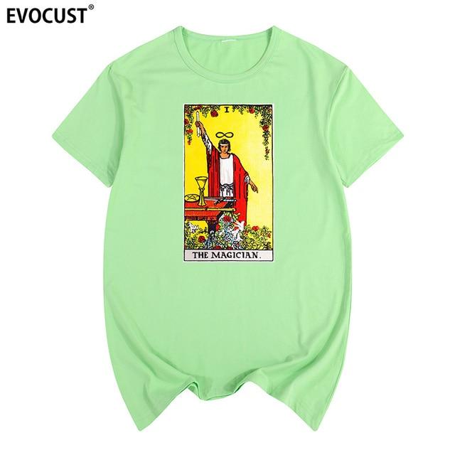 17edd7c7503833 The Meaning of the Magician Major Arcana Tarot Card in Readings Summer  print T-shirt Cotton Men T shirt New women TEE
