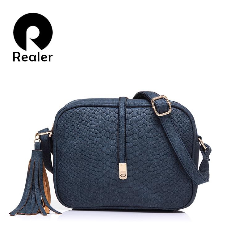 Prix pour REALER marque casual sacs à bandoulière femmes petit messager sacs dames rétro conception sac à main avec le gland femelle sac bandoulière