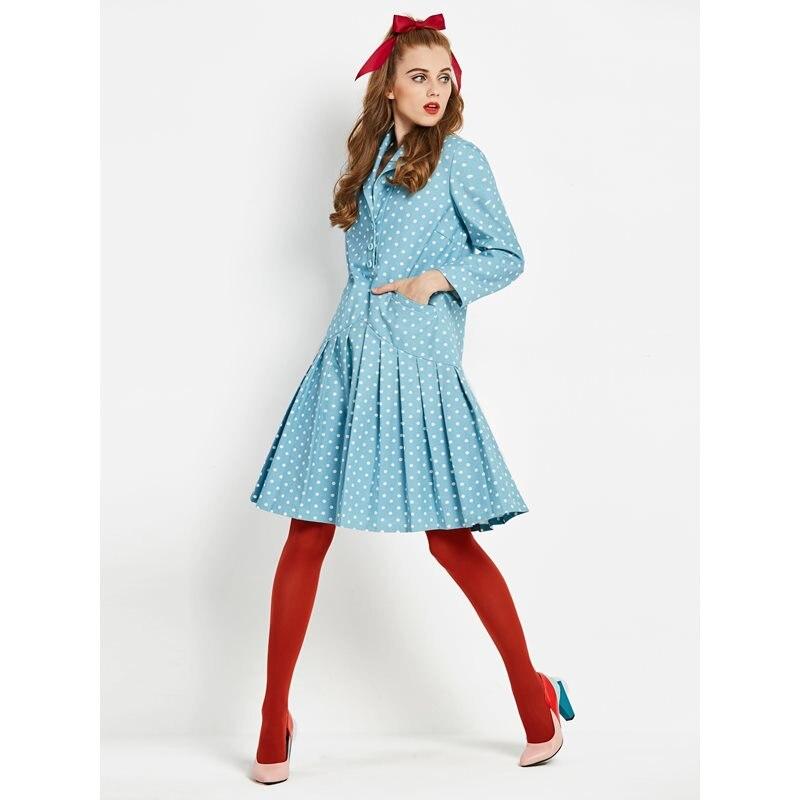 Navy Coton Plissée Bouton Robe Femmes Bureau Robes longues Mi Mode Élégant De Voyage Femelle Dot Doux Mignon Bleu Vintage Rétro Dame 67R86xq