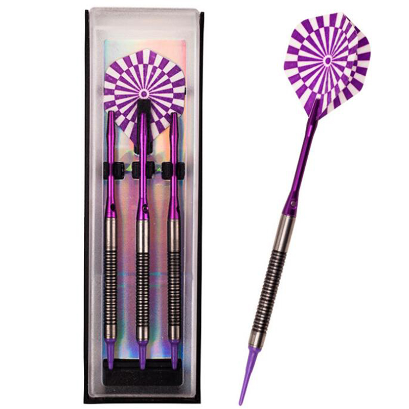 Profession 90 Tungsten Steel Tip Darts 3pcs Set 18g 2BA Purple Color Laser Dart Flight Soft