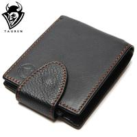 Black Color Man Vintage Wallet With Button Men S Genuine Leather Wallets