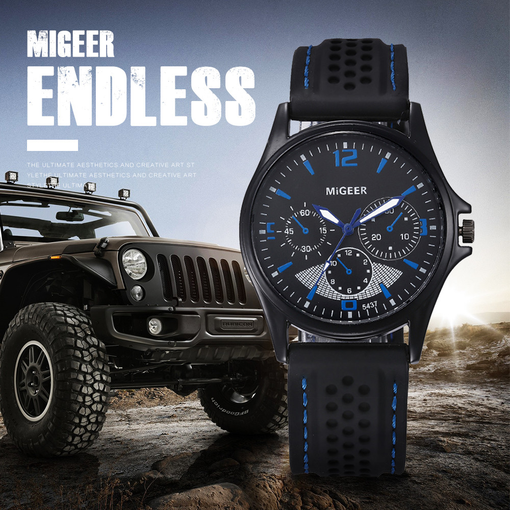 MIGEER 2018 Luxury Brand Men Fashion Silicone strap Sport Cool Quartz Hours Wrist Analog Watch Men Watch Waterproof erkek saatl goblin shark sport watch 3d logo dual movement waterproof full black analog silicone strap fashion men casual wristwatch sh165