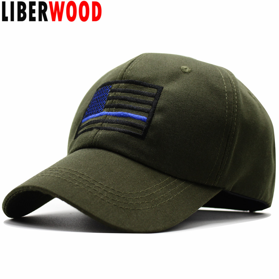 f012ec8b437 Liberwood Flag Thin Blue Line Profile Cap American