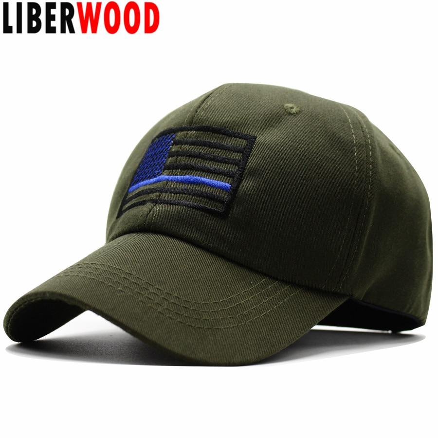 Liberwood Us Flag Thin Blue Line Low Profile Cap American
