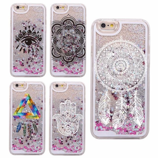 1e8486a750b Glitter Liquid Mandala Dream Catcher Bohemia Boho Feathers Hard Case Fundas  Capa Para For iPhone 7 7Plus 6 6S 5 8 8Plus X XS Max