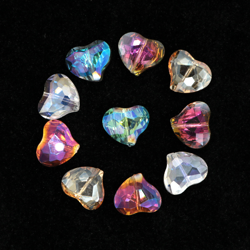 10pcs 10mm Charms Crystal Glass Cube Spacer Beads Craft Loose Bead Findings