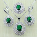 Reginababy Silver color Green created Emerald lab Topaz Earrings Jewelry Sets Women Wedding Earrings/Ring/Necklace/Pendant