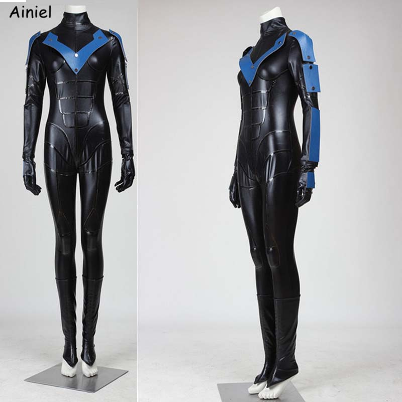 Ainiel Batman Costume Adult Arkham City Nightwing Cosplay Halloween Christmas Costume Carnival Cosplay Jumpsuit Adult Men