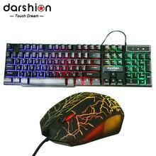 Russische Regenbogen Tastatur Maus Combo Bunte Hintergrundbeleuchtete tastatur + Optische USB Wired Gaming Mouse Computermäuse Hohe Qualität
