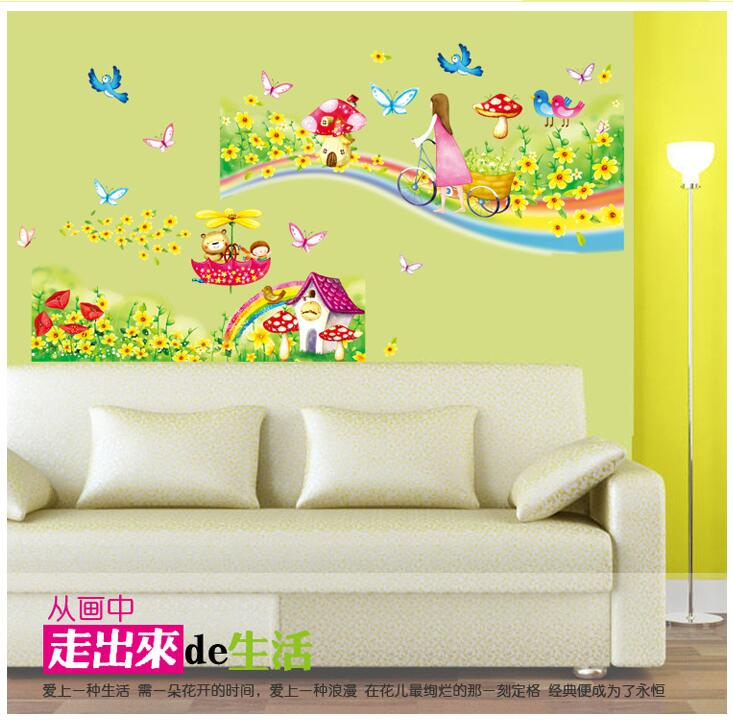 Rainbow Road Wall Stickers for Kids Rooms Daycare Wall Decorations ...